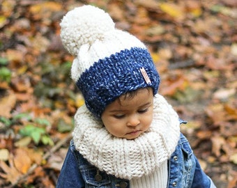 efc8977873d Knit hat for Kids Large Yarn Pom Pom Toddler Winter Hat Girl Gift Christmas  Hat Warm Toddler Winter Hat for girl Mommy and me matching hats