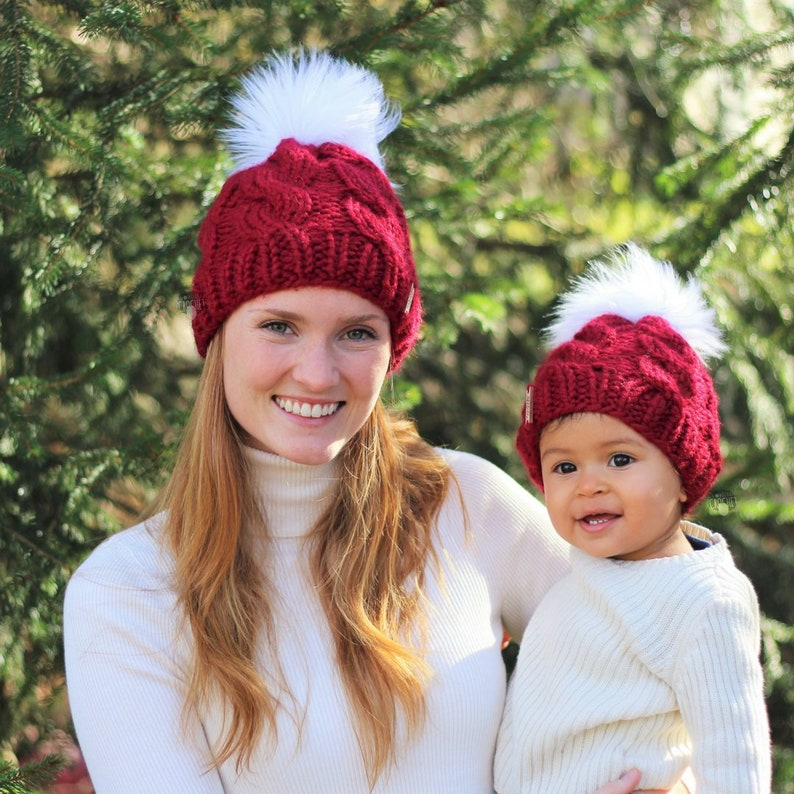 Mommy and me matching winter hats Mother daughter gift set  f99fae74371