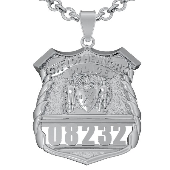Nypd Shield Pendant Police Officer Sterling Silver Etsy