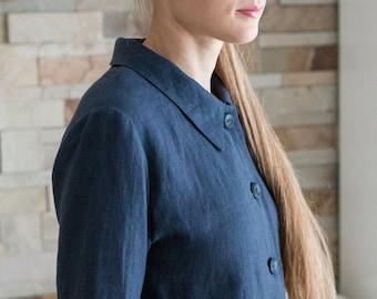 JACKET LINEN  Linen Jacket  Dark GREY Blazer  Linen Coat  Linen Blazer Japanese Jacket  Elegant garment 100% Linen fabric