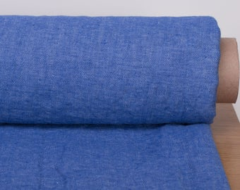 Pure 100 % Linen fabric last piece 1.2 m; 1.3 yard; Bright blue and white jeans weaving linen fabric.Pure Linen softened and washed Fabric