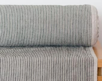 Linen fabric striped  200gsm Natural linen color (not dyed) and dark gray  striped linen fabric Organic Softened