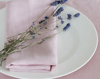 LINEN NAPKINS  SET 6 Dirty pink Light blue  Washed 100% linen napkins, Reusable Everyday Napkins