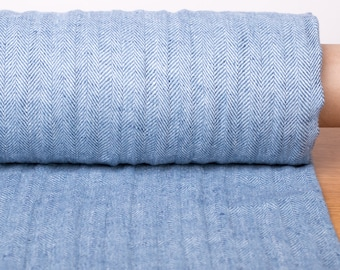 Pure 100% linen fabric Blue Herringbone pattern, medium weight Linen fabric washed, softened, organic, certified For clothes, home textiles
