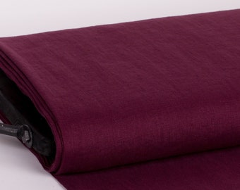 Pure 100% linen fabric 200gsm burgundy color, wash and soften with organic softeners. For dresses, jackets, skirts, napkins, curtains, etc