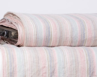 Pure 100% linen fabric 170gsm   Medium weight Linen fabric with multicolored strips