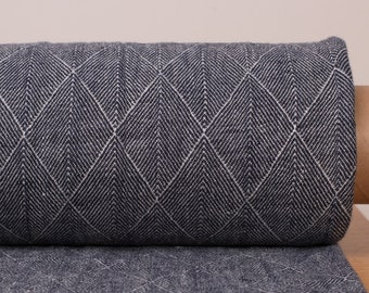 Pure 100% linen fabric 300gsm Dark Blue Double-Sided Patterned dobby weave Pure Linen Softened Fabric