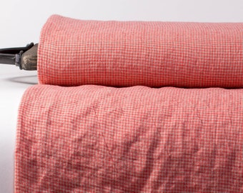 Pure 100% linen fabric 170gsm  small bright pink and gray checked. Wash with organic softeners. For  clothes tableware curtains, kitchenware