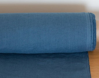 Pure 100% linen fabric Marine Blue,  Medium weight, pre-washed, softened linen fabric, fabric by the yard, fabric by the meters