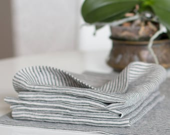 CLASSIC LINEN NAPKINS Mitered Hem Set 6 washed  napkins Kitchen napkins Dining napkins Reusable Everyday Napkins