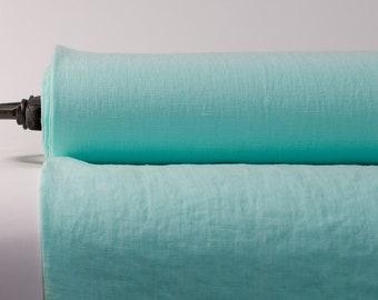 Pure 100% linen fabric. Green Magic mint linen fabric medium weight 200gsm. Dense woven. washed linen fabric