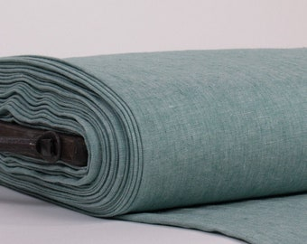 Pure 100% Linen Fabric Medium weight Chambray Emerald  Washed Softened  Dense Soft Organic Biodegradable For Clothing Home Textiles Drapery