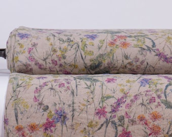 Pure 100% linen fabric digital printed. Summer FLOWERS FIESTA base Not-dyed medium weight, washed, softened linen fabric Code M2-0189-0157