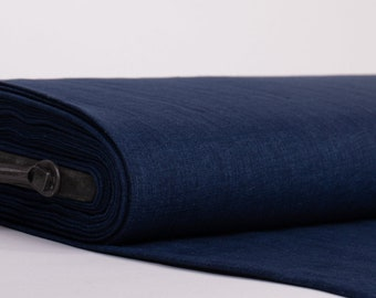 Pure 100% Linen Fabric Chambray Dark Blue Medium weight Washed Softened Dense Soft Organic Biodegradable For Clothing Home Textiles Drapery