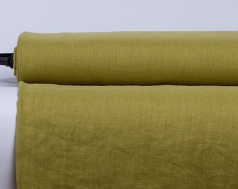 Pure 100% Linen Fabric Green Pear Medium Weight Pre-Washed Durable Dense Plain Solid Organic Textile Drape For Sewing Table Cloth By Yard