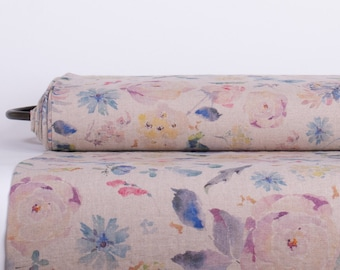 Pure 100% linen fabric digital printed. Vintage Flowers base not-dyed linen fabric medium weight, washed, softened Code MP 500-01