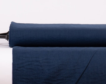 Pure 100% Linen Fabric Midnight Blue Medium Weight Pre-Washed Durable Dense Plain Solid Organic Textile Drape For Sewing Table Cloth By Yard