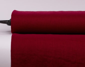 Pure 100% Linen Fabric Berry Red Medium Weight Pre-Washed Durable Dense Plain Solid Organic Textile Drape For Sewing Table Cloth By Yard