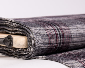 Linen fabric 200gsm Black, gray, red tartan,  wash and soften with organic softeners. For clothing, accessories and so on.