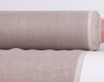 Pure 100% linen fabric 135gsm. Not dyed, thin, lightweight, dense, non-transparent natural linen fabric for blouses, accessories, curtains.