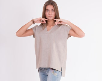 LINEN Blouse Not-dyed, natural linen color Sleeveless blouse from light weight stone washed fabric