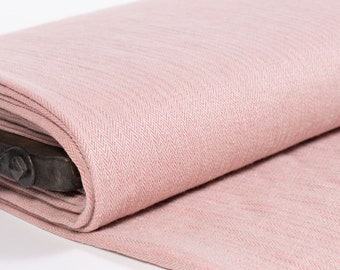 Linen fabric Pink and Gray,  Herringbone, Pure 100% washed linen fabric heavy weight 290gsm, for jackets, skirts, blankets, curtains, covers