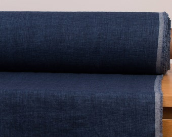 LINEN FABRIC 200GSM Melange Dark blue and Blue 100% pure linen fabric by meter washed an softened  Organic Linen Cloth