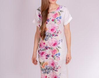 Linen Dress, Linen Kimono Dress, Floral linen dress, summer dress