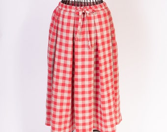 LINEN SKIRT Gingham pleated elastic waist midi skirt 1990s Linen skirt with strap and pocket at the sides