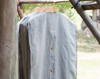 Linen Garment Bag  Organic Garment bag with wooden buttons  Wedding Dress Garment Bag  Bridesmaid Dresses Garment Bags