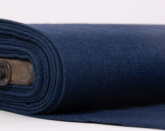Linen/wool linen fabric Chambray Dark Blue Medium weight, densely, washed-softened.  For clothes, home textiles, accessories