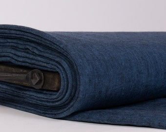 Extra Wide 2.35 m / 2.56 yd pure 100% Linen Fabric Blue - Black Chambray.  Medium weight, washed, softened fabric for curtains, clothing,