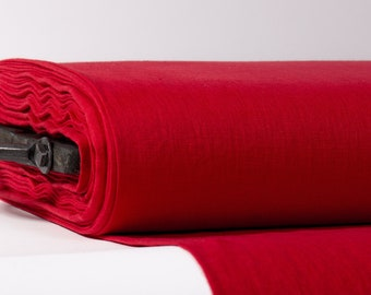 LINEN FABRIC 205GSM Red medium weight pure 100% linen washed fabric Organic linen fabric Linen fabric by the yard  Fashion fabric