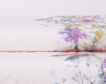Pure 100% linen fabric. Digital print Summer meadow flowers 170gsm  medium weight, washed and softened linen fabric.