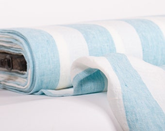 Pure 100% linen fabric Sky blue and white color striped fabric for clothing, shawls, scarves, curtains