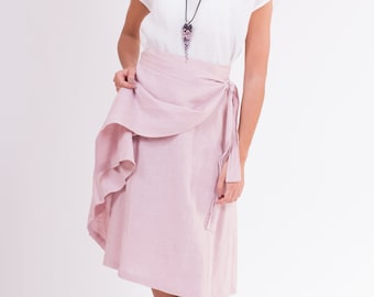 LINEN SKIRT 25 colors Wrap-inspired silhouette,  apron-type, with a belt and pocket at the sides skirt made from washed pure linen fabrics