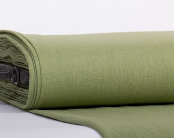 Pure Linen Fabric Fear Green Medium Weight Pre-Washed Textile Durable Plain Woven Solid Not Transparent Organic For Outfit Drape Accessories