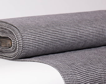 Pure 100% linen fabric 200gsm Black retro style goose foot seamless pattern on off white background. For sewing clothing, accessories