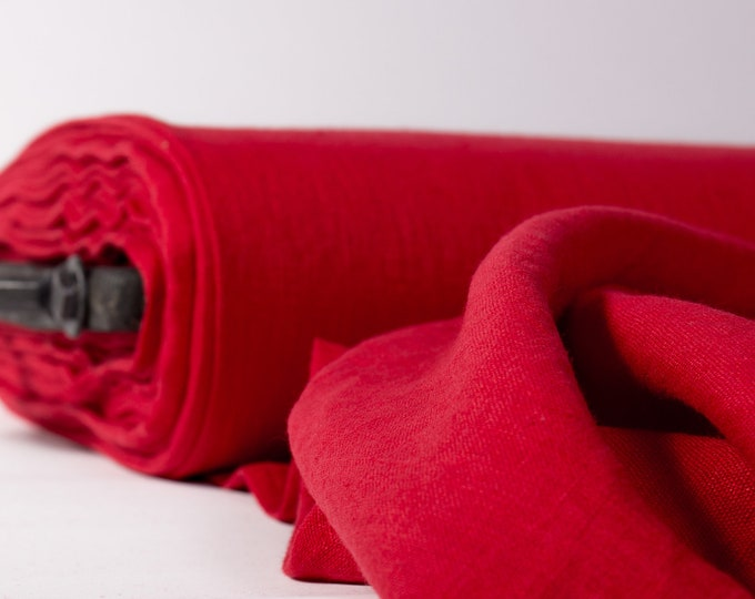 Featured listing image: Pure 100% linen fabric 200gsm red, pillar box red. medium weight, wash and soften with organic softeners. In rolls. Cuts from 0.5 yard.