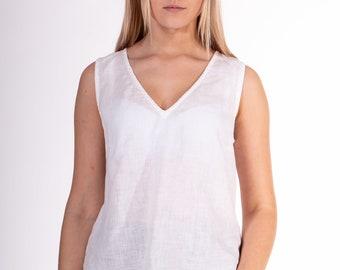 Linen Blouse, Linen top, White linen Blouse for women, V-neck sleeveless blouse,