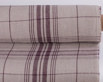 "PURE LINEN FABRIC Width 72.4"" Heavy Natural linen and aubergine striped checkered linen fabric Organic Rustic french linen fabric"
