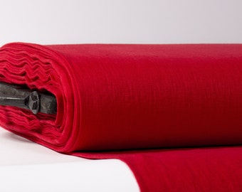 Pure 100% linen fabric. Red linen cloth medium weight 200gsm, washed, softened. Natural organic linen fabric for clothes, home textile.