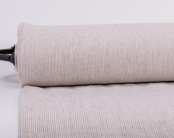Pure 100% Linen Not-dyed/White Narrow Striped Fabric. Medium weight Washed Dense Durable Non-transparent Organic Biologically Decay