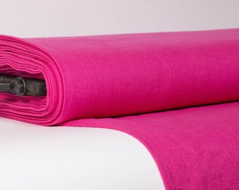Pure 100% linen fabric, Hot Pink linen fabric, Medium weight linen fabric, Solid color linen fabric by the yard, Linen fabric for clothing