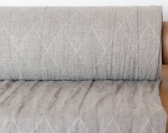 100 % LINEN FABRIC WASHED 300gsm Grey Double-Sided Washed Linen Fabric Patterned dobby weave Pure Linen Softened Fabric