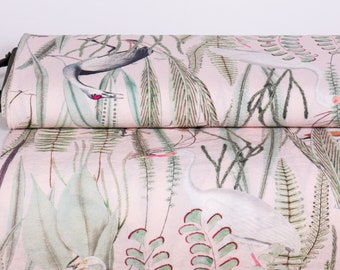Pure 100% linen fabric. Digital print Equatorial pattern Flora and birds on light pink base  Linen fabric medium weight, washed, for dresses
