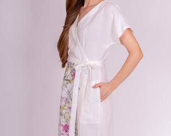Pure 100% linen dress.  Midi stylish, light-fitting dress from washed linen. Medium length dress with 2 pockets.