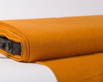 LINEN FABRIC 205GSM Mustard,  Mustard Yellow medium weigh pure 100% linen washed linen fabric Linen fabric by the metre Fashion fabric