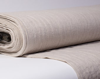 Pure 100% linen fabric Beige, natural linen color Herringbone pattern, medium weight Linen fabric washed For clothes, home textiles