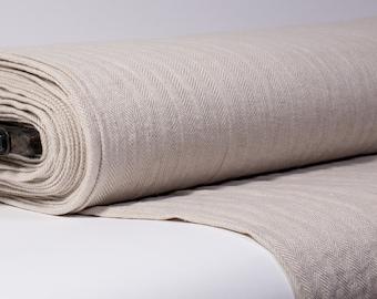 Pure 100% Linen Fabric Herringbone Pattern 215 gsm Medium weight Strong, dense